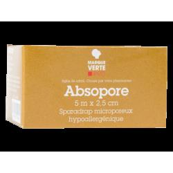 Absopore Sparadrap microporeux 5 M X 2.5 CM