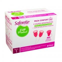 SAFORELLE CUP PROTECT Coupe Menstruelle Boîte de 2 + stérilisateur